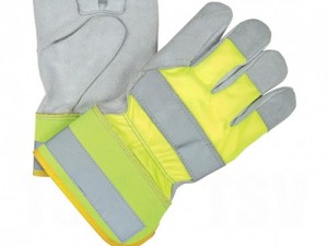 Hi-Vis Yellow Lined Split Leather Fitters Gloves