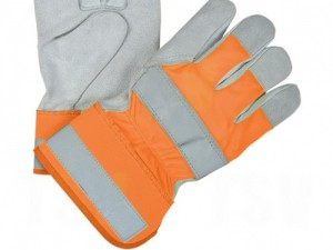 Hi-Vis Orange Lined Split Leather Fitters Gloves